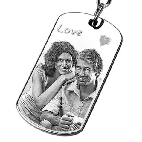 Porte Cle Metal Rectangle Gravure Personnalise Avec Photo Et Texte - Porte clef photo