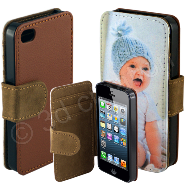 Etui a clapet marron coque personnalise pour telephone for Housse iphone 5 c